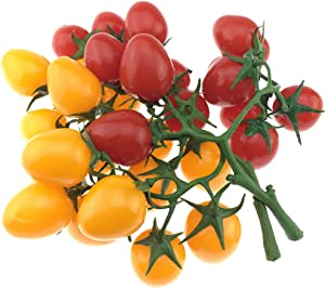 Gresorth 2 Pack Artificial Red & Yellow Cherry Tomatoes Decoration Fake Tomato for Home Kitchen Party Christmas