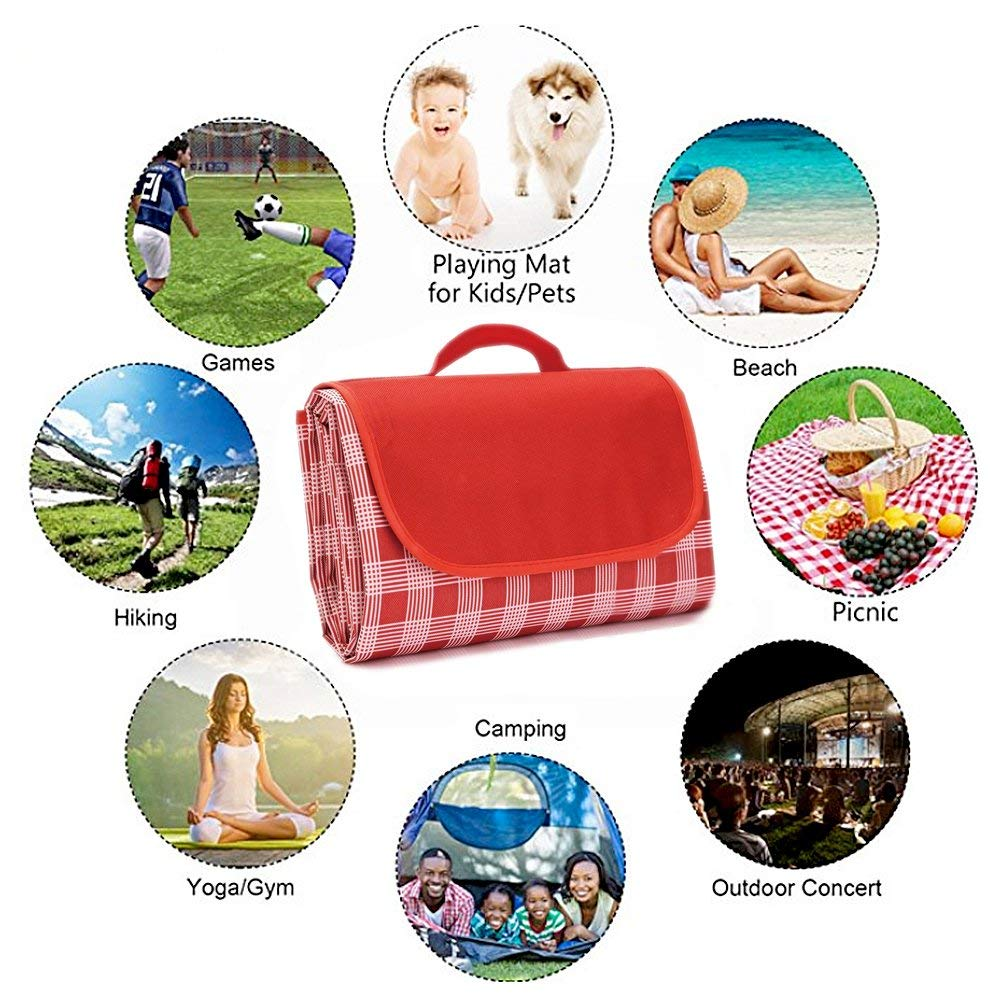 AIOLOC Outdoor Picnic Blanket Dual Layers Large Waterproof and Sand Proof Portable Beach Mat for Camping//Travel //Hiking