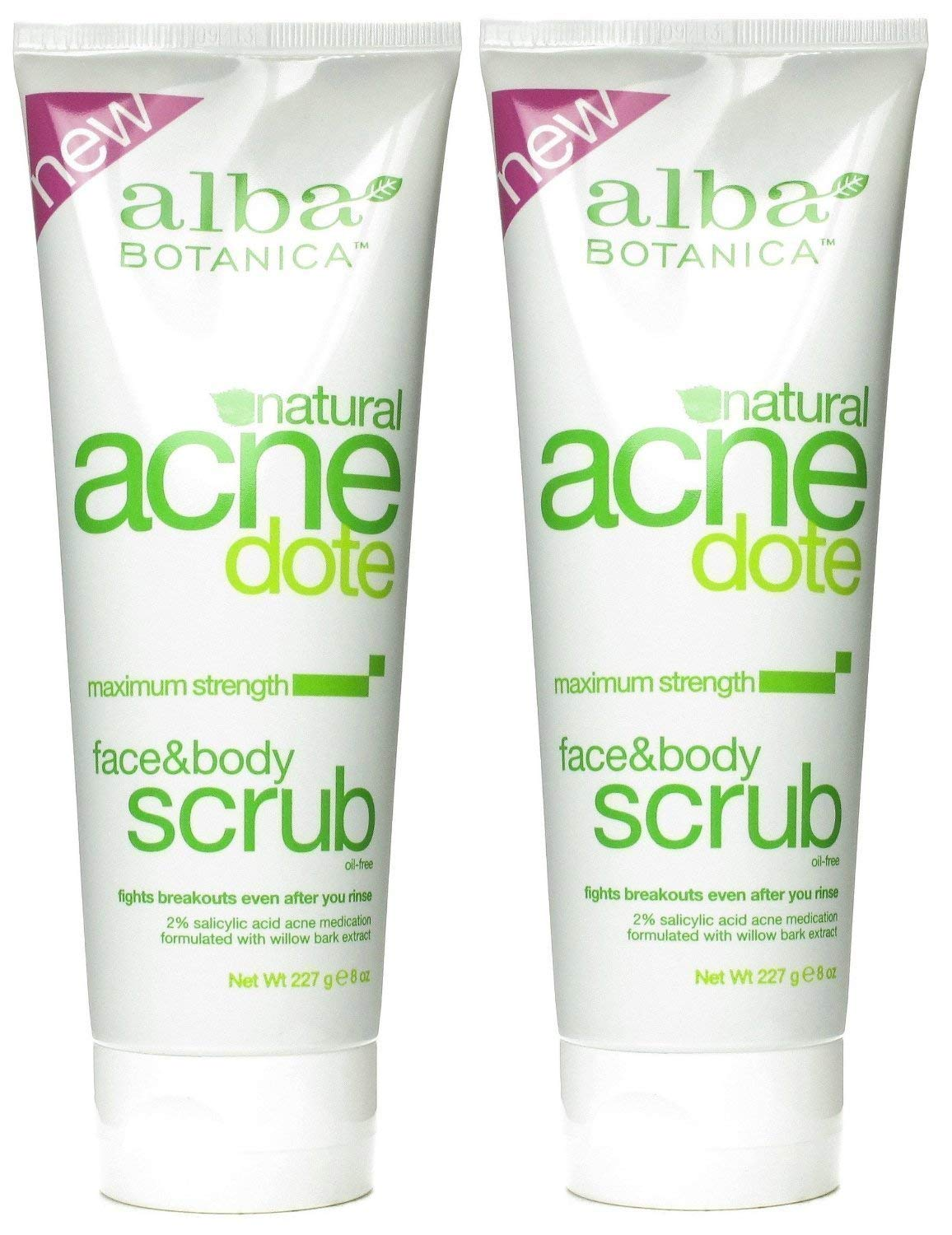 Alba Botanica ACNEdote Face & Body Scrub, 8 Ounces Tube (Pack of 2)