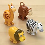 Bits and Pieces - Set of Four (4) Wind Up Running Jungle Animals - Wind-Up Monkey, Lion, Zebra and Giraffe Toys