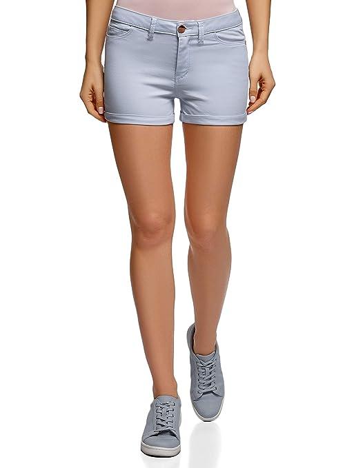 oodji Ultra Damen Stretch Jeansshorts mit Aufschlägen