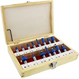 """ABN Tungsten Carbide Router Bit 15-Piece Set, 1/2"""" Inch Shank – Woodworking Routing Drill Bits Kit with Carrying Case"""