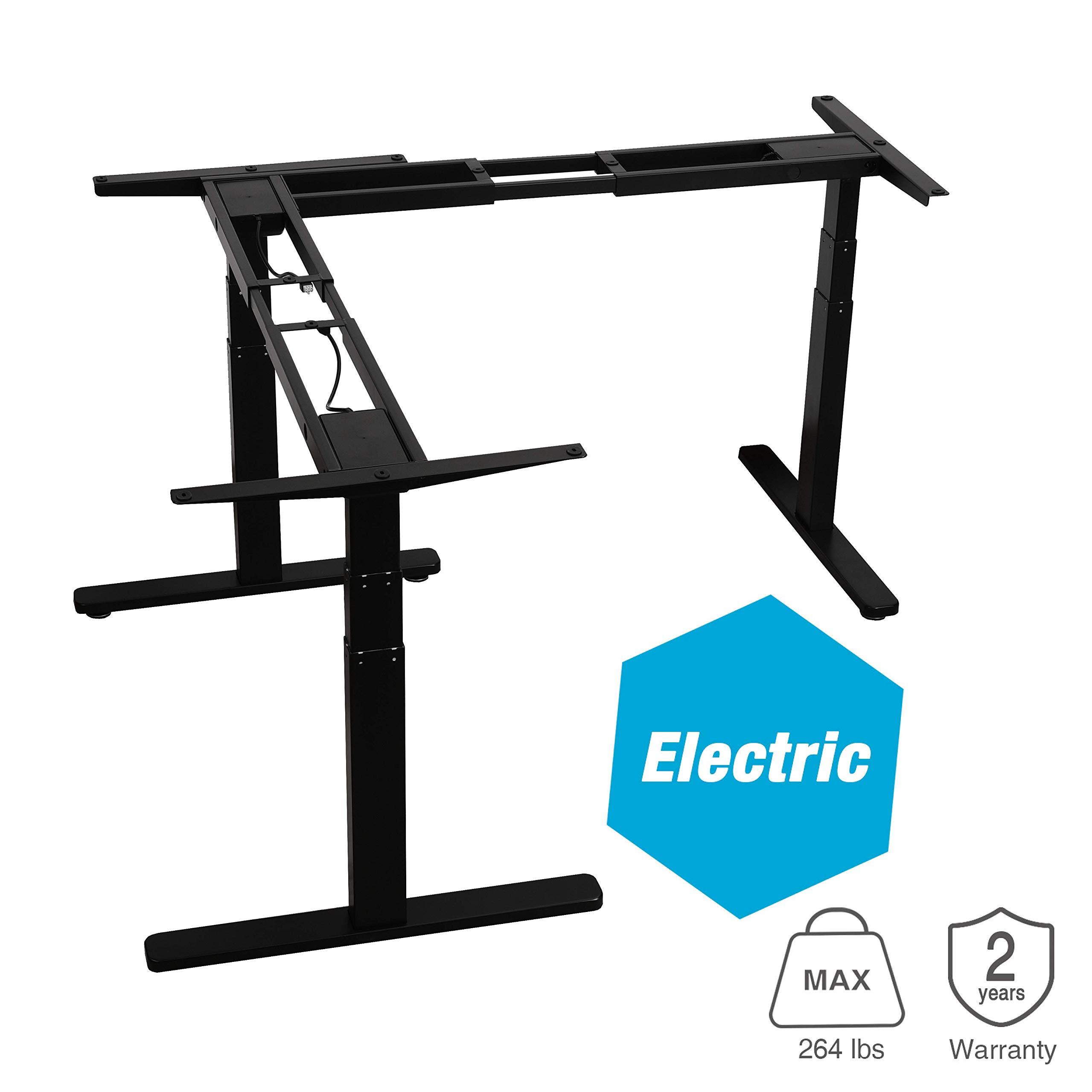 AVLT-Power L Shaped Electric Desk - Height Adjustable Corner Desk - 3 Legs Desk Adjustable Height - Motorized Desk Legs - L-Shape Standing Desk Frame - Desk Frame Only - Black by AVLT-Power