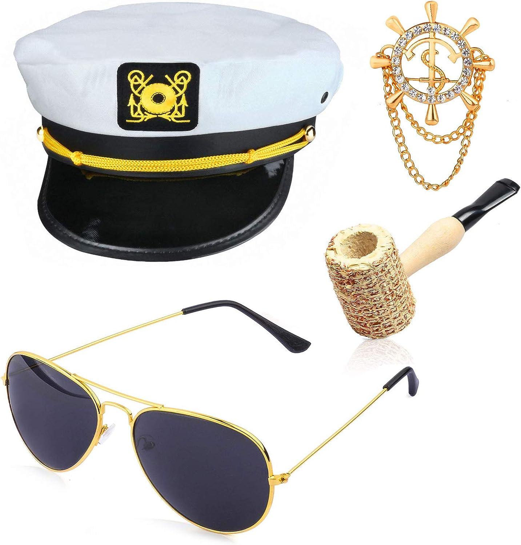 Beelittle Yacht Captain Hat Costume Accessories Set Sailor Hat with Corn Cob Pipe & Aviator Sunglasses