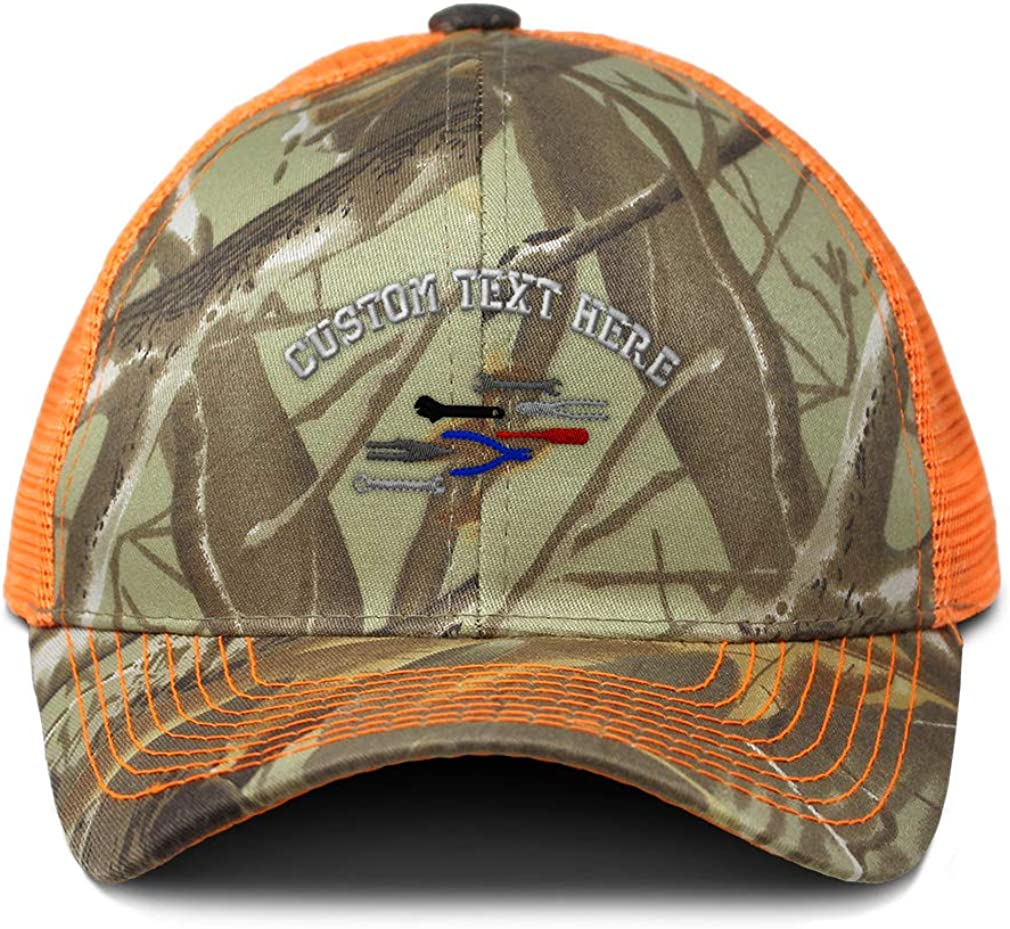 Custom Camo Mesh Trucker Hat Colored Repair Tools Embroidery Cotton One Size