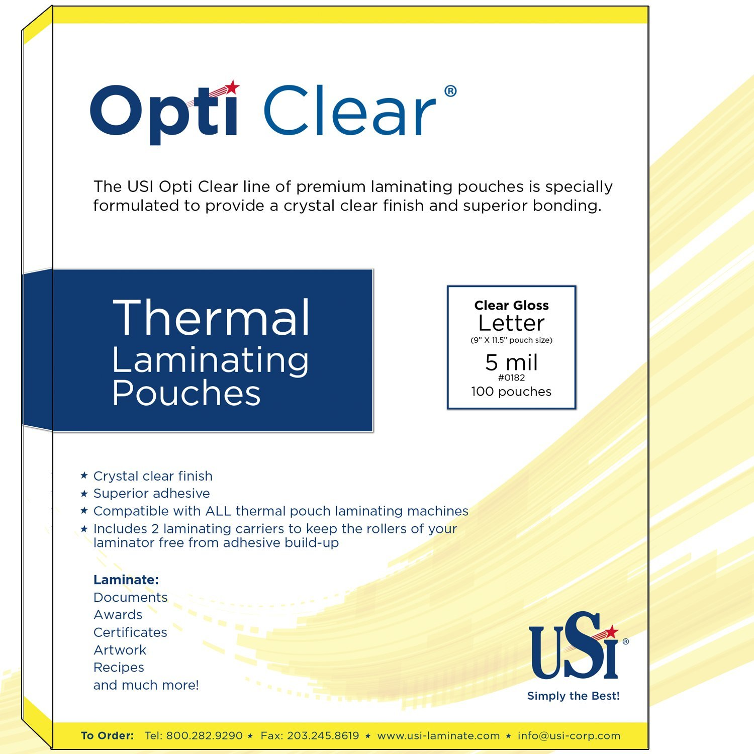 USI Opti Clear Premium Thermal (Hot) Laminating Pouches/Sheets, Letter Size, 5 Mil, 9 x 11 1/2 Inches, Gloss, Pack of 200