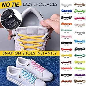 Luonita No Tie Shoelaces for Kids & Adults,1 Pair No Tie Lazy Shoelaces Bandage Metal Connect Flexible Shoe Laces for Sneakers Board Shoes Casual Shoes