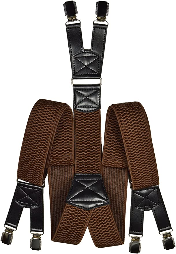 Mens Brown 40mm Elasticated Plain Braces Adjustable Suspender 4 Clip UK Seller