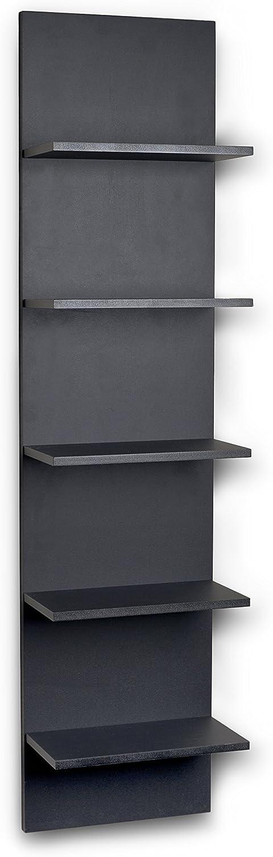 Danya B. FF5120 Decorative Wall Mount Vertical Shelving Unit – Modern Column Shelves – Black Grain Finish