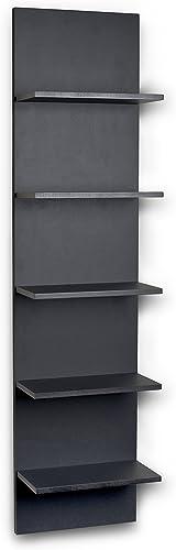 Danya B. FF5120 Decorative Wall Mount Vertical Shelving Unit Modern Column Shelves Black Grain Finish