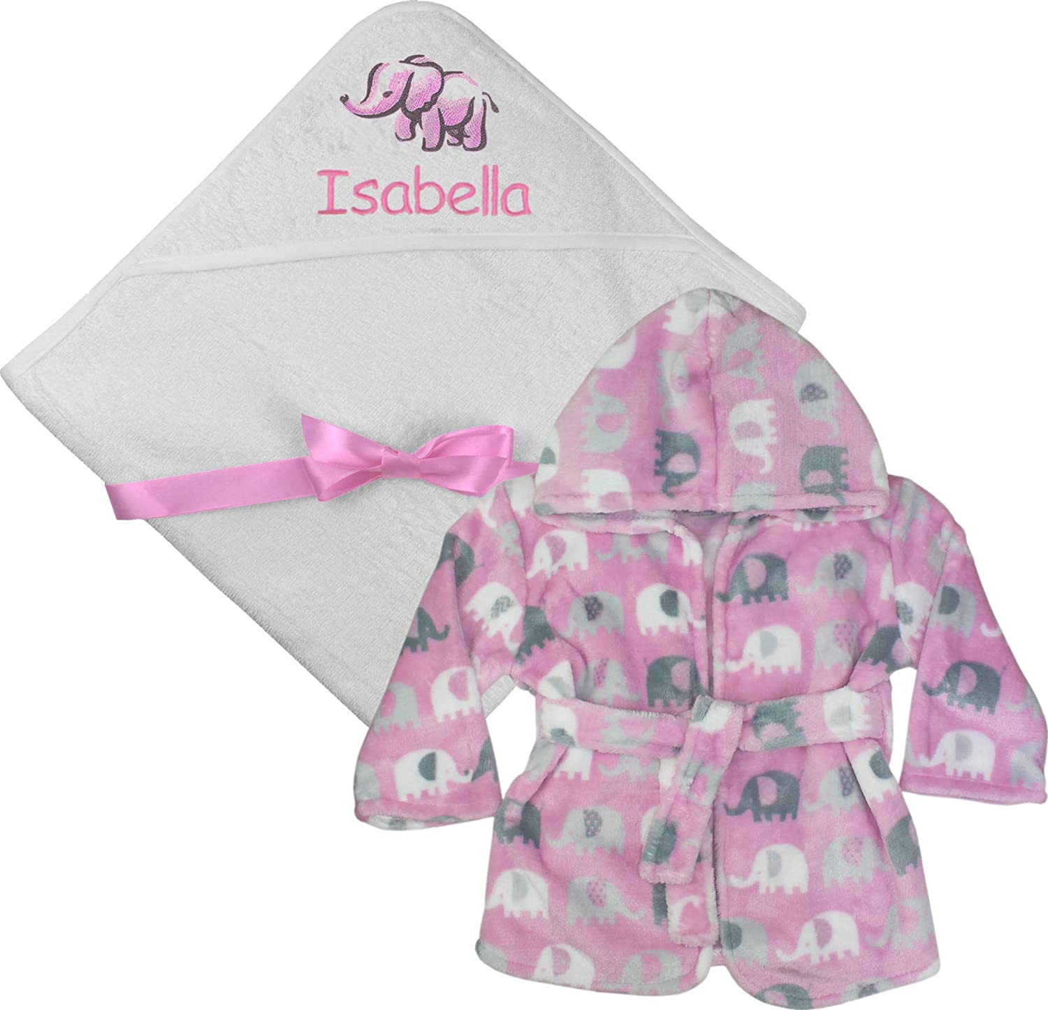 Personalised Gift Set Baby Girl's Hooded Bath Towel and Bathrobe Dressing Gown