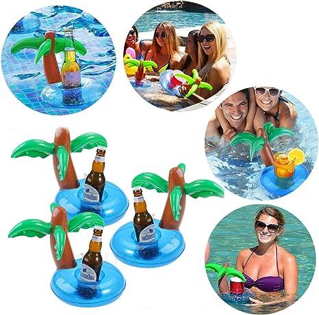 Soporte para vasos hinchable, bonito soporte para bebidas, posavasos flotantes, mini piscina, playa, juguetes, flamencos, palmas,