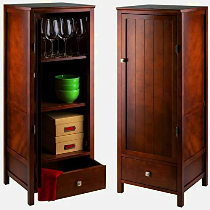 Walnut Accent Cabinet With Slatted Door And Drawer Wooden Vertical Tall  Narrow Utility Cabinet With Shelves