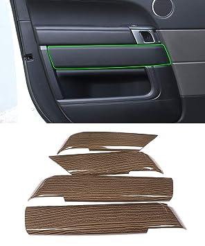 Tirador de puerta interior de grano de madera de cromo y carbono ABS, accesorios de marco para Velar 2017 2018: Amazon.es: Coche y moto