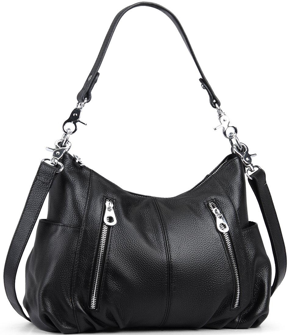 Heshe Women's Leather Shoulder Handbags Cross Body Bags Hobo Totes Top Handle Bag Satchel and Purse for Ladies (Black)