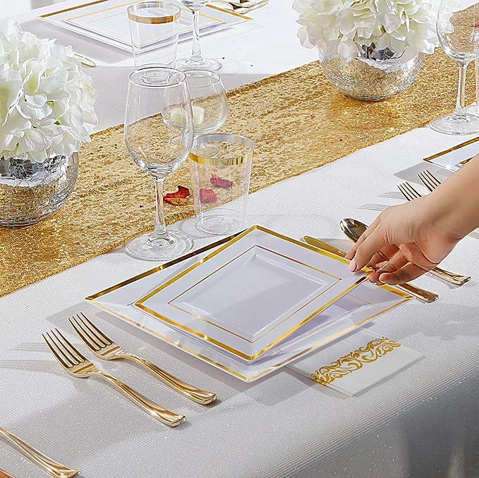 Amazon.com: IOOOOO 150 platos cuadrados de oro, de plástico ...