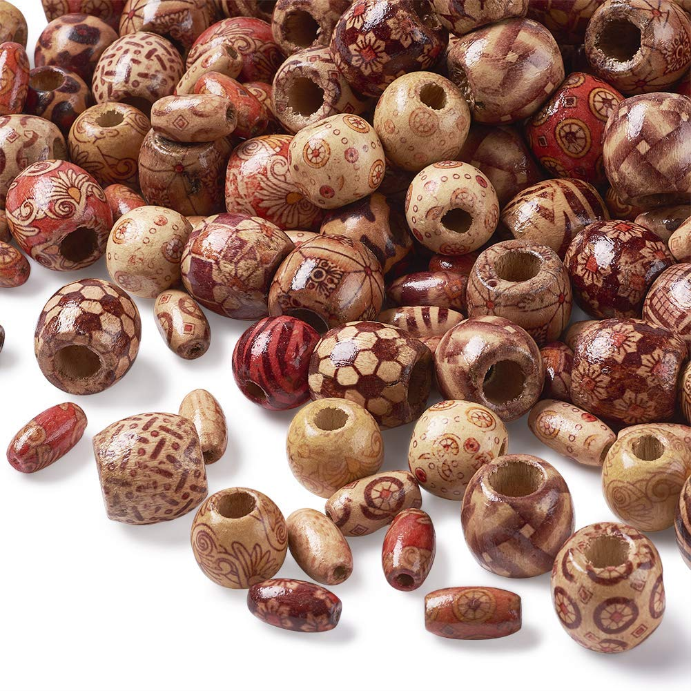 300pcs Wooden Tube Beads Wood Spacer Loose Beads Bracelets Necklace Beads