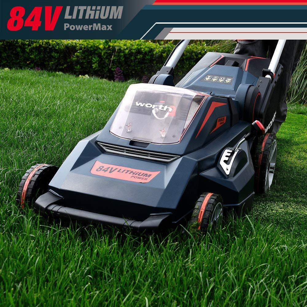 El juego de cortacésped de litio Worth Garden 84V contiene 2 baterías de 2.5 Ah y un cargador, motor sin escobillas de 48cm de ancho ...