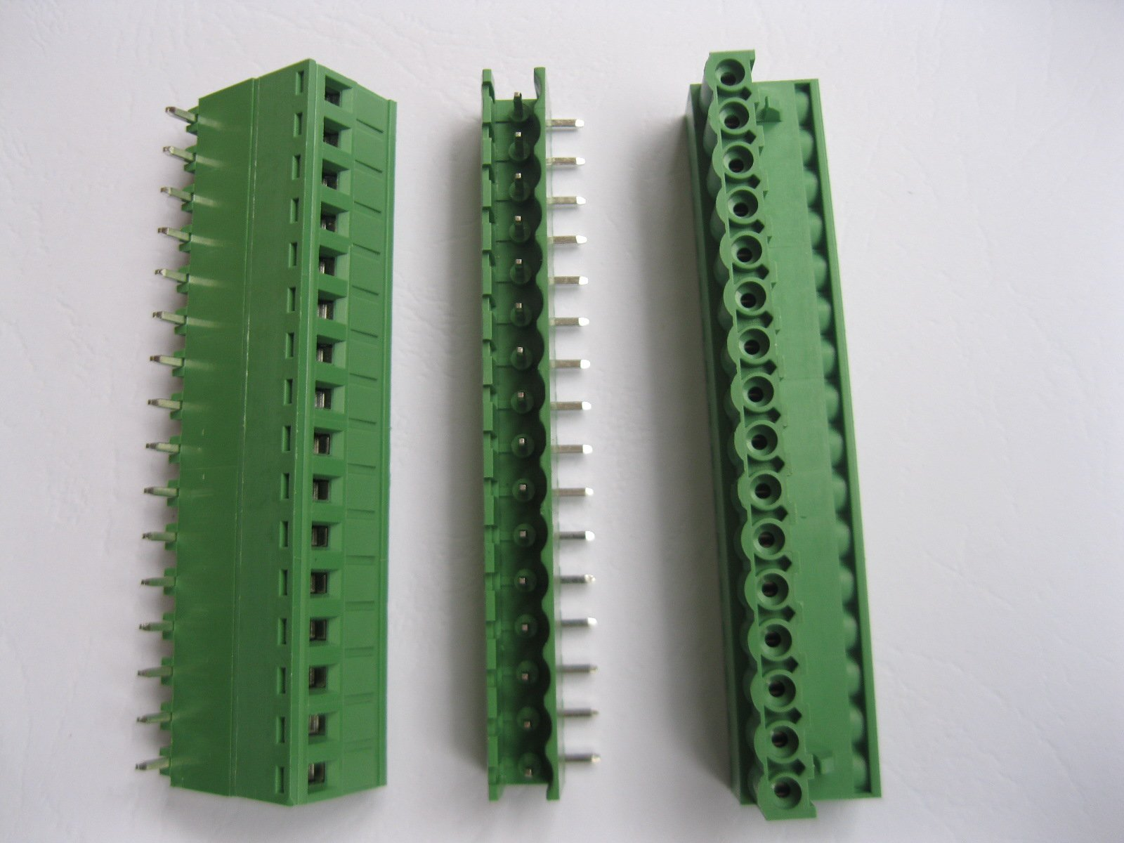 20 Pcs Angle 16 pin/way Pitch 5.08mm Screw Terminal Block Connector Green Color Pluggable Type With Angle pin