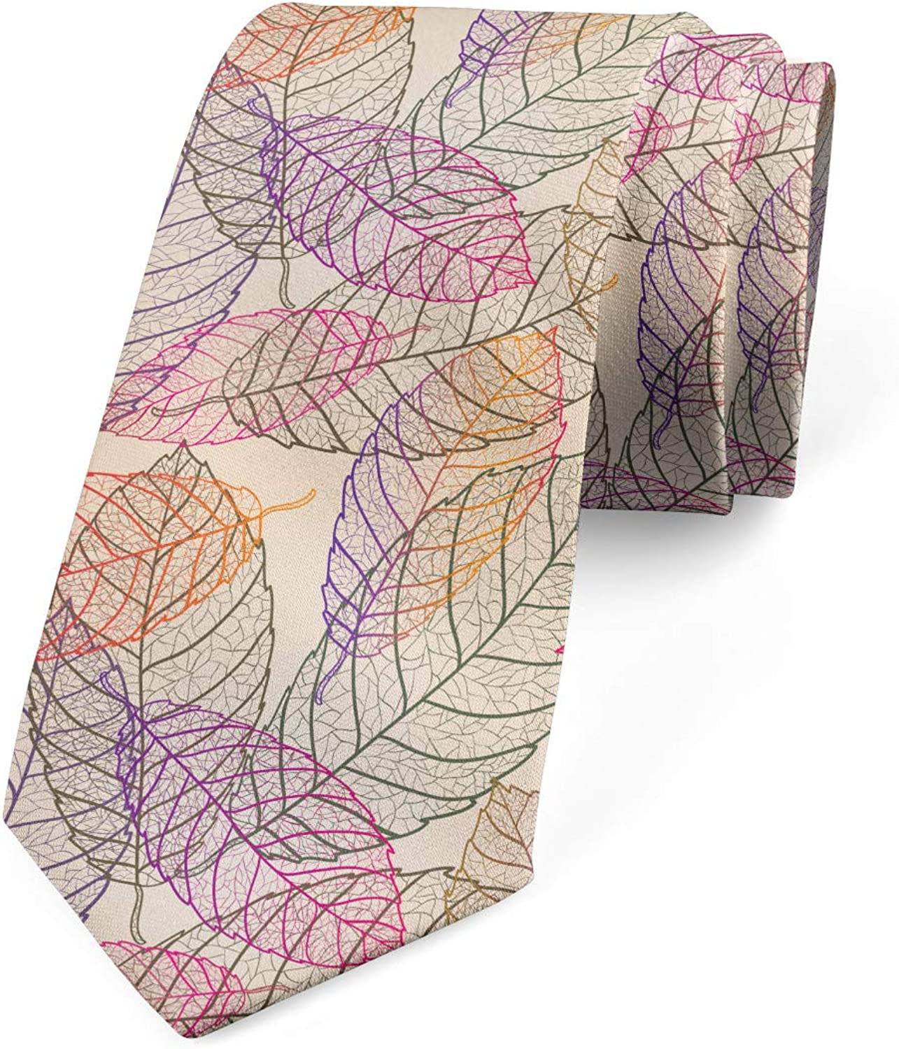 Romantic Fallen Leaves Champagne and Multicolor Ambesonne Mens Tie 3.7