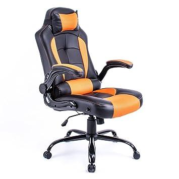 Aminiture de respaldo alto de cuero PU reclinable silla giratoria de carreras escritorio de la computadora de apoyo lumbar silla de oficina en casa: ...