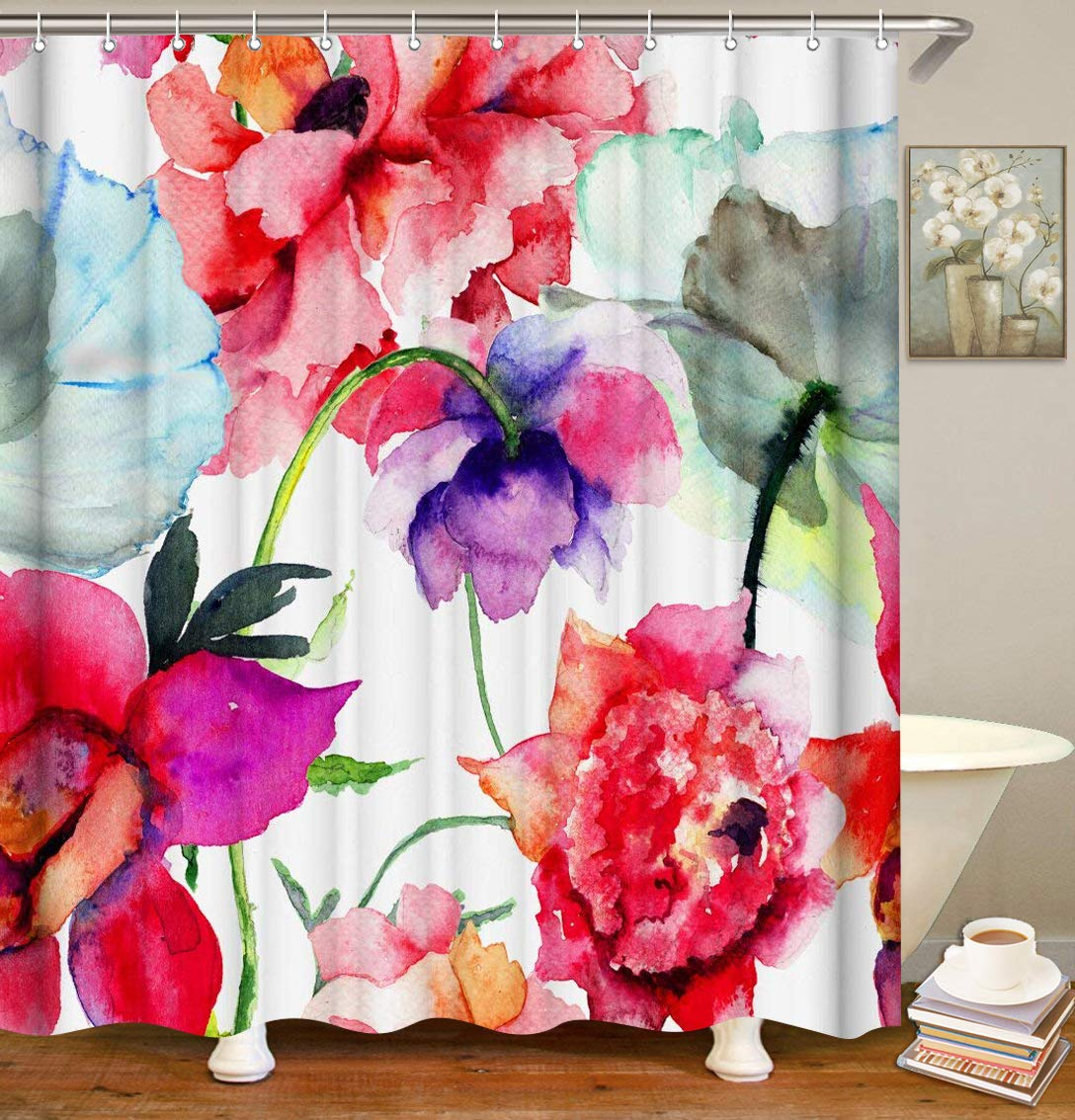 LIVILAN Aestheticism Shower Curtain Set, Abstract Watercolor Floral Print, Thick Polyester Fabric, Waterproof Machine Washable, 72 X 72 inch, Red