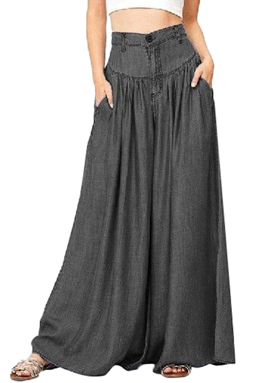 dextrad Hot Womens Plus Size Wide Leg Baggy Long Pants High Waist Casual Lounge Slacks BlueMedium