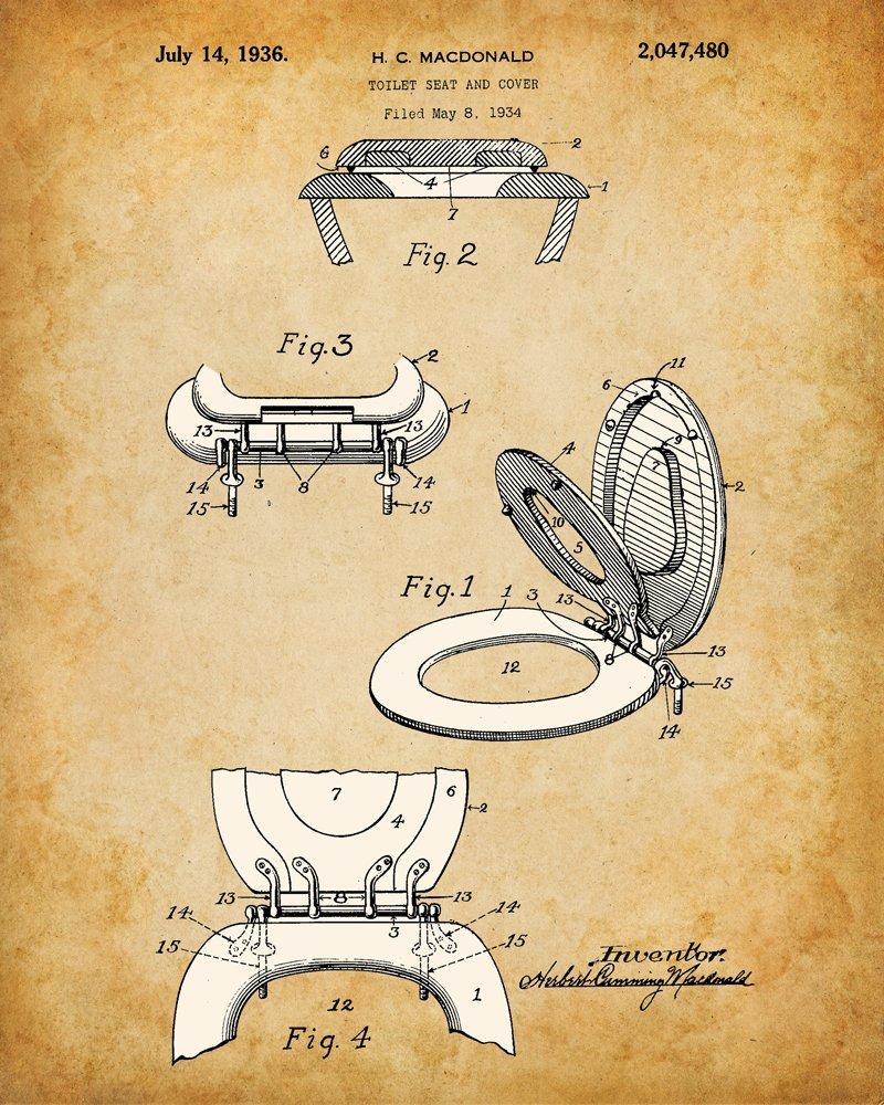Bathroom Patent Wall Art 4 8x10 Unframed Prints Bath Decor Vintage ...
