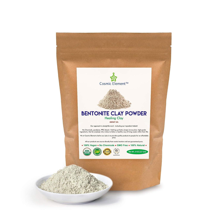 Calcium Bentonite Clay Powder, Vegan Bentonite Clay Food Grade, Healing Clay for Face Mask Skin Care Detox, Clay Mask for Blackheads and Pores, 8 ounce - Cosmic Element