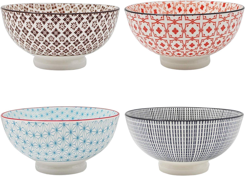 YALONG 24 Ounce Porcelain Bowls Set of 4, Serving for Rice Cereal Soup Salad and Fruit Assorted Designs Microwave & Dishwasher Safe