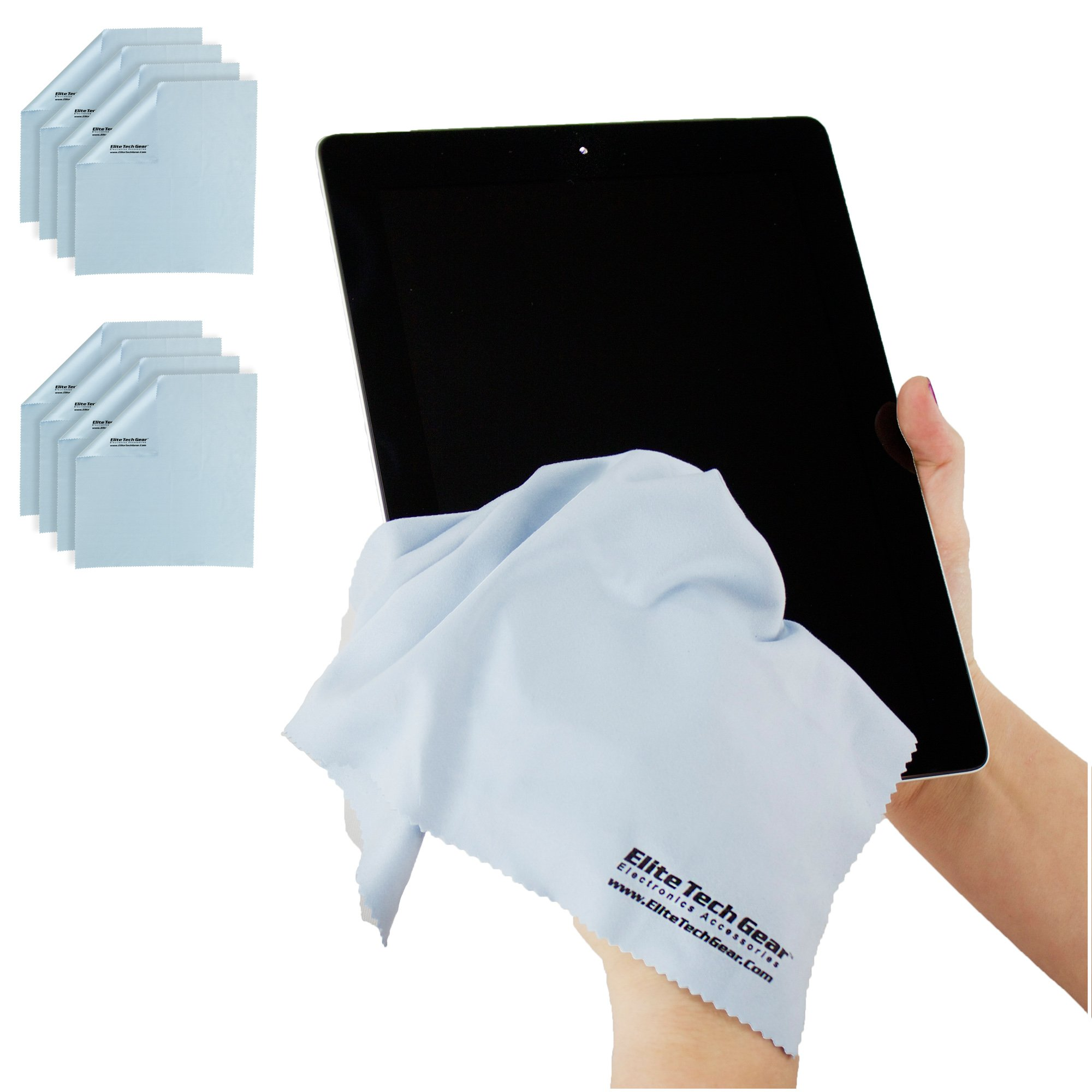 (8-Pack ''OVERSIZED'') The Most Amazing Microfiber Cleaning Cloths - Perfect For Cleaning All Electronic Device Screens, Eyeglasses, Tablets & Delicate Surfaces (8 Oversized 12''x12'') by Elite Tech Gear