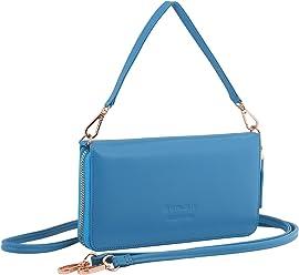 StilGut Smart Wallet en cuir - Pochette, sac, housse portable et sac à bandoulière, Bleu-Azur Nappa