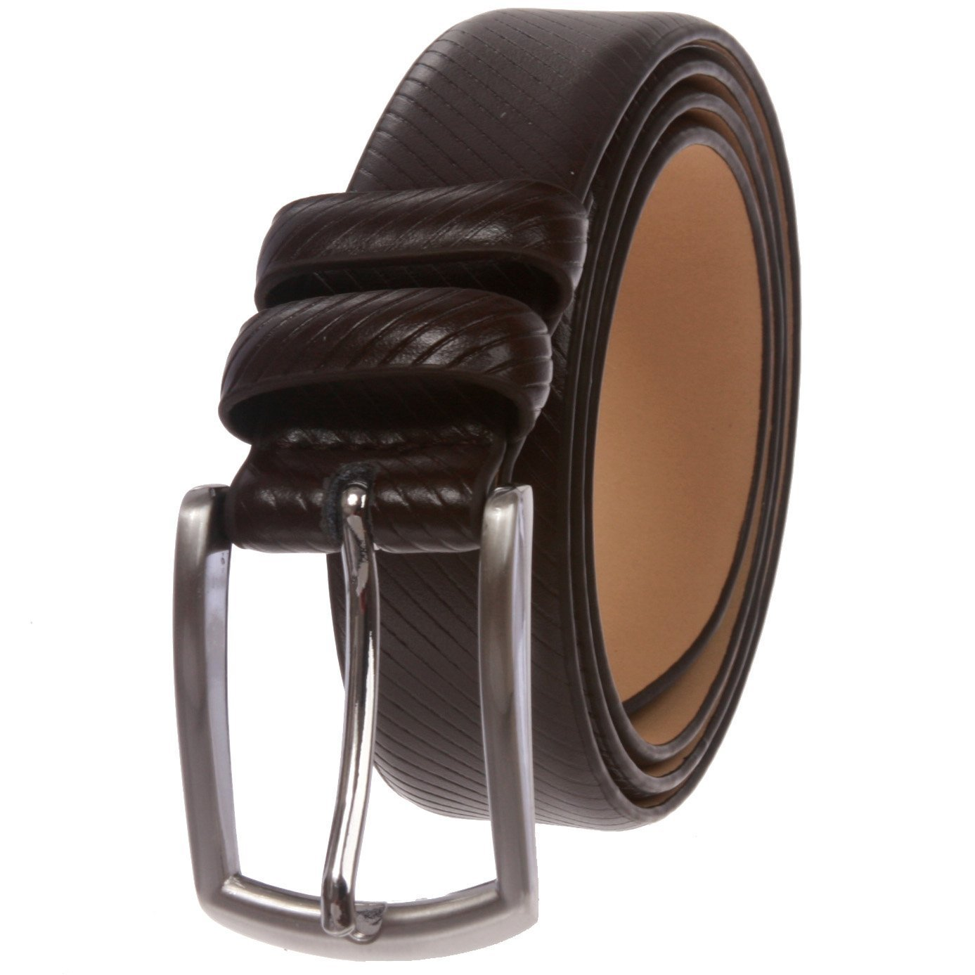 MONIQUE Men Feather Edged Leather Silver Finish Rectangular Buckle 30mm Belt