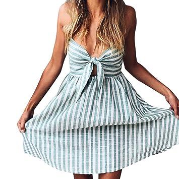 Damen Kleid Summer – saihui Sexy Gestreift Print Spaghetti Gurt Fliege  Hollow ärmellos Casual Boho Swing aa7bae2982