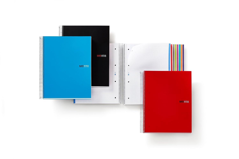 200 hojas franjas de 8 colores Rayado Horizontal 7 mm tapa de polipropileno color azul Cuaderno A4 Miquelrius