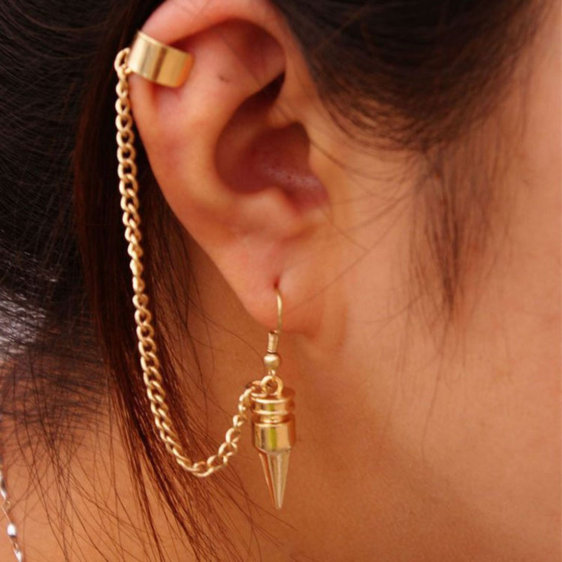 Coromose Fashion Punk Style Bullet Pendants Tassel Ear Clip Earrings Jewelry