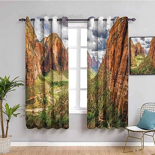 National Parks Home Decor Curtain Panels Utah Plateau Mojave Desert Southwest Erosion Native Aztec Artistic Print Bathroom Curtain W84 x L84 Inch Brown Green
