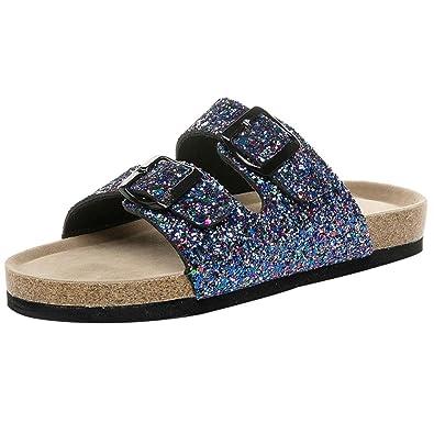 e6b8130e57e5 Familizo 2018 Womens Cross Toe Double Buckle Strap Cork Sequined Beach Shoes  Casual Flat