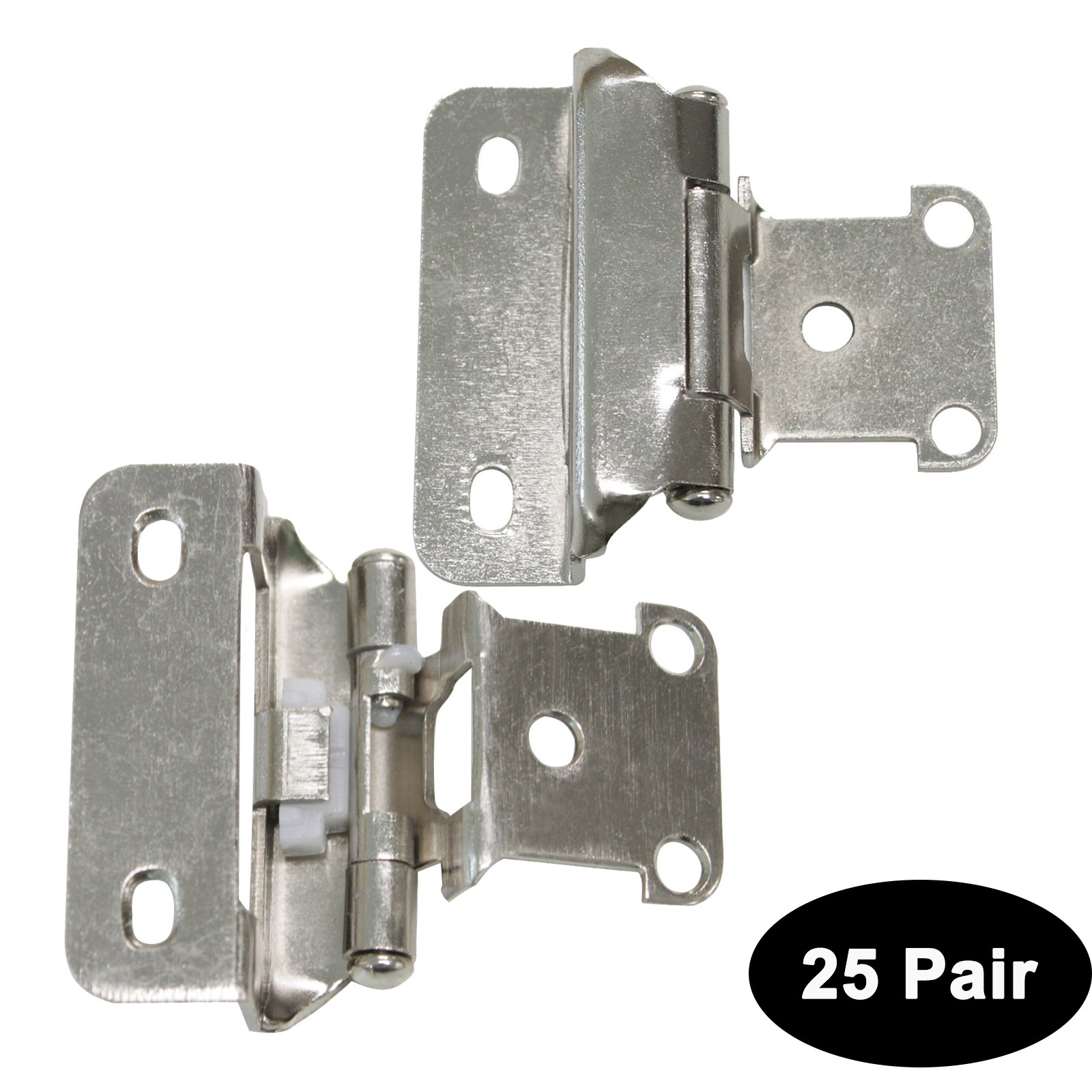 50 Pack(25 pairs) Probrico HMCH196-SN Brushed Satin Nickel Decorative Self Closing Face Mount Kitchen Cabinet Hinges Step 1/2'' in Overlay by Probrico