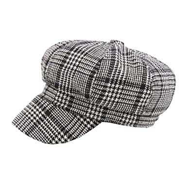 ACVIP Women s Winter Houndstooth Plaid Baker Boy Hat Flat Cap (Black)   Amazon.co.uk  Clothing 8148818f3ab8