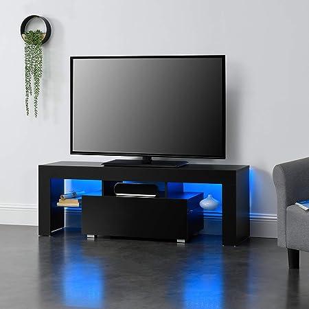 en.casa] Mesa de Tele con LED 130 x 35 x 45 cm Cómoda - Mueble de salón para TV con Estantes de Vidrio y con Cajón Almacenamiento Negro: Amazon.es: Hogar