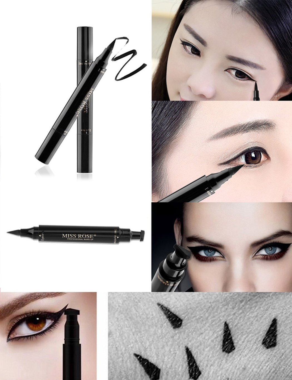 Gfone Eyeliner 2 in 1, impermeabile, a doppia testa, nero, eyeliner liquido, a lunga durata, con timbro, asciugatura rapida liquida Eyeliner 3,5 ml