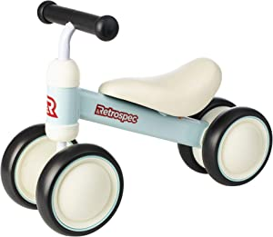 Retrospec Cricket Baby Walker Balance Bike with 4 Wheels for Ages 12-24 Months