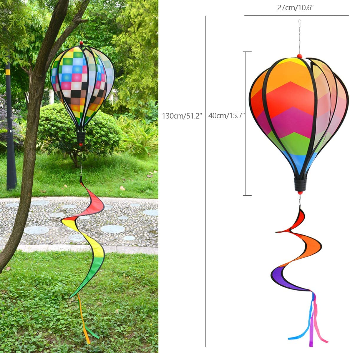Quality Yes Rainbow Kinetic Hot Air Balloon Wind Spinner Hanging Rainbow Wind Twister,2pcs