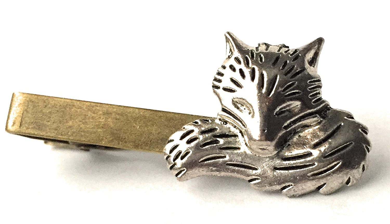 Mens Silver Tie Clip Set Fox Cufflinks by Arcanum By Aerrowae Silver Cuff Links Wedding Gift