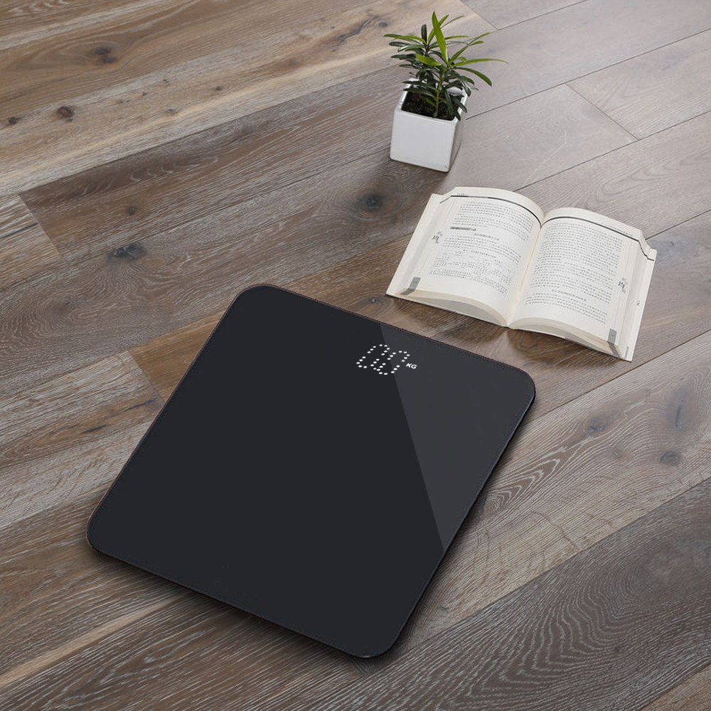 Digital Electronic Body Weight Scale Product Size:300mm300mm21mm, Black Precision Measurements,Backlit Display Steel Protective Glass Pure Color 400 Pound//180KG