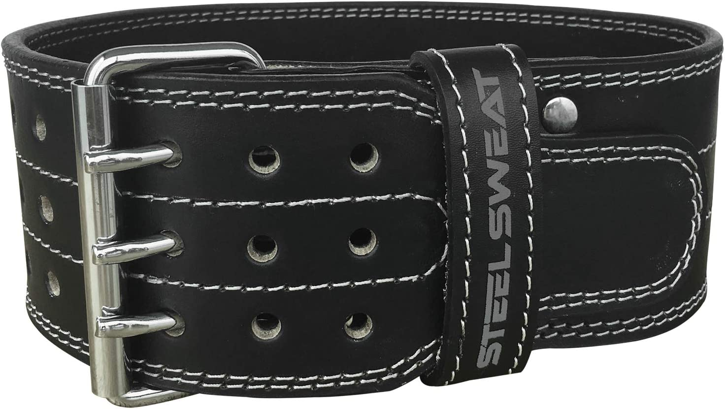 Steel Sweat Powerlifting Belt for Weight Lifting – 4 Wide – Triple Prong – Heavy Duty Adjustable Weightlifting Belt, Leather – Claw Black