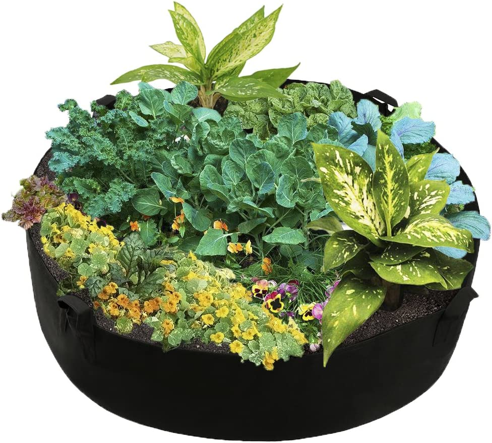 Povkeever Extra Large Fabric Raised Planting Bed, Round Raised Planter Garden Bed Bag for Herb Flower Vegetable Plants Size M(50 Gallon)