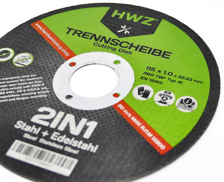10-400 Lot de disques /à tron/çonner HWZ extra fins pour m/étal acier inoxydable V2A Meuleuse dangle 115 x 1,0 mm 30 St/ück 115 x 1,0 mm