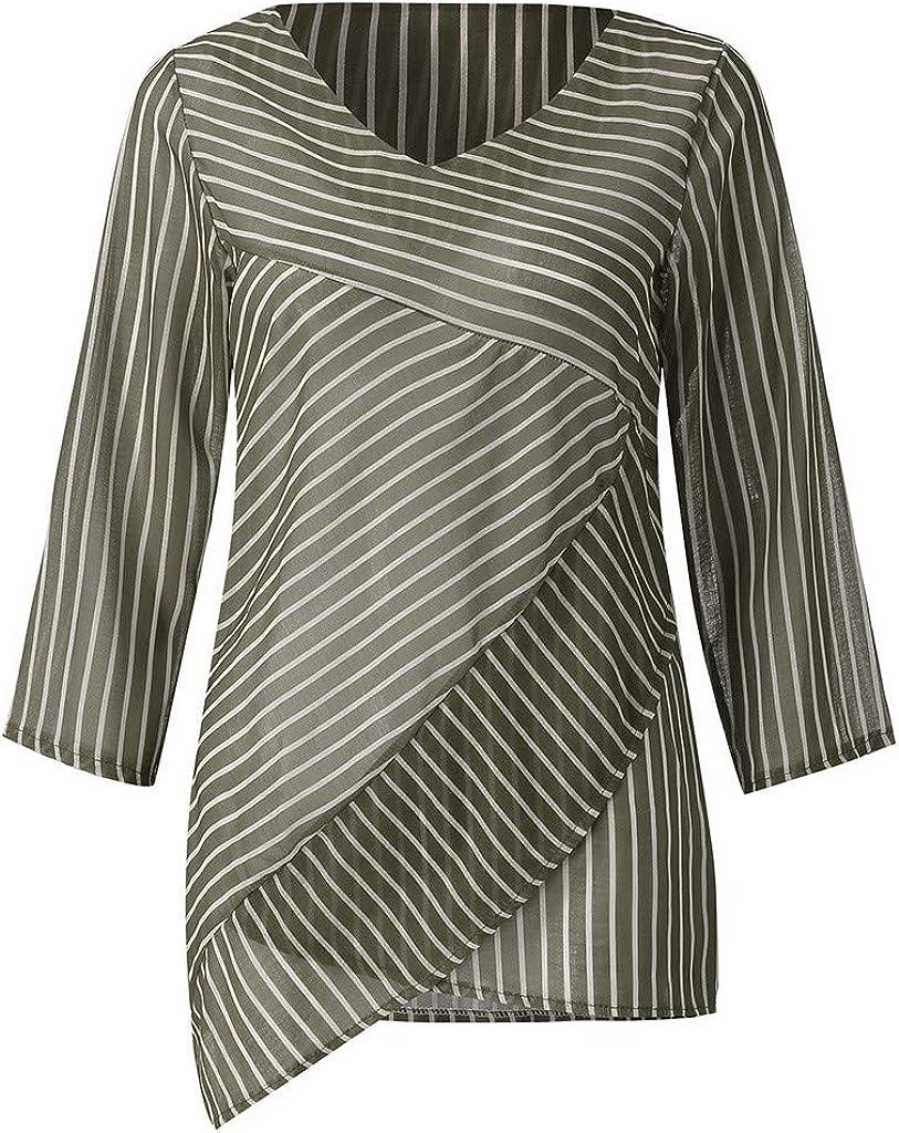 WUAI-Women Chiffon Blouse Casual Stripe V Neck Ruffle Loose Fit Blouse Shirts Chic Tops
